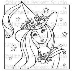 DIGITAL STAMP - Celeste the Good Halloween Witch