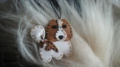 Hand made, customised pendant dog, tornjak, vegan lether, snap pap