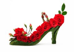 Fantasy Shoe Greeting Cards Red Rosebud Shoe