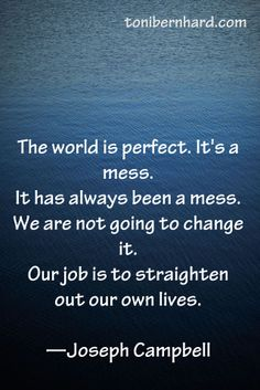 The world has always been a mess. Our job is to straighten out our own lives. —Joseph Campbell