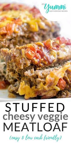 Veggie Stuffed Meatloaf Recipe - With a VIDEO TUTORIAL! - Veggie stuffed meatloaf is the best meatloaf I've ever eaten – complete comfort food. Pork And Beef Meatloaf, Veggie Meatloaf, Cheese Stuffed Meatloaf, Best Meatloaf, Stuffed Meatloaf Recipes, Beef Recipes, Low Carb Recipes, Cooking Recipes, Easy Recipes