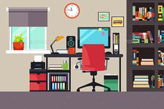 Buy Home Office in Flat Style by artisticco on GraphicRiver. A vector illustration of Home Office in Flat Style Flat Illustration, Graphic Design Illustration, Bedroom Drawing, Building Icon, Living Room Background, Cartoon Background, Paper Houses, Christmas Design, Fashion Flats