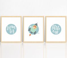 Dream Big Little One | GIRL  | Vintage Space | SET OF 3 Prints | Rocket Ship | Nursery Decor | Children's Room Print by AngelaMaroskeDesign on Etsy https://www.etsy.com/au/listing/484361303/dream-big-little-one-girl-vintage-space