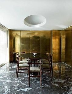 Interior Design: decor/furniture/design/art/design inspiration from SCANDINAVIAN COLLECTORS Gio Ponti´s Superleggera dining chairs and Eero Saarinen´s Tulip dining table with black marble top / Casa Vogue Decor, Gold Dining Room, House Design, Room Design, Interior, Dining Room Design, House Interior, Scandinavian Dining Room, Interior Design