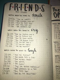 "FRIENDS-Best Episodes Bullet Journal ""Matter your way of life simply by smiles of pleasure, not Friends Best Episodes, Tv: Friends, Friends Tv Quotes, Happy Birthday Quotes For Friends, Serie Friends, Friends Moments, Friends Tv Show, Best Himym Episodes, Best Office Episodes"