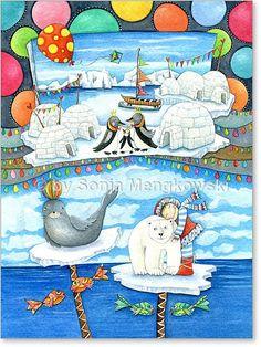 """Serie: Aquarell Zeichnungen Motiv: """"Eisland"""" Eisbär und Seehund begrüßen ihre beste Freundin Ylva- wo Liebe wohnt, ist es nie zu kalt - Serie: Bilder für's Kinderzimmer."""