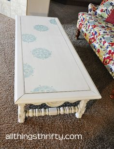 Yard Sale Coffee Table Transformation via Martha Stewart's Decorative Paint Line by Plaid - another stencil option for the dining table.