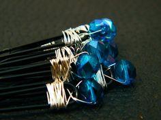 Set Of Six Hair Pins - Blue