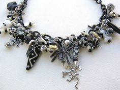 RIP  Halloween necklace black white skeleton by jenniflairjewelry, $50.00