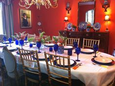 Dining Room... Orange, blue and white