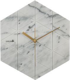 Marble Hexagon wandklok wit - Karlsson