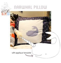narwhal pillow http://tearosehome.blogspot.com.br/2012/07/out-to-sea-diy-blog-tour-tutorial.html