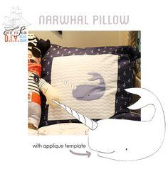OUT TO SEA Blog Tour: narwhal pillow tutorial #sarahjanestudios #tearosehome