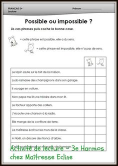 Possible ou impossible? French Basics, Ap French, Core French, Learn French, Learning French For Kids, Teaching French, French Language Lessons, French Lessons, Probability Worksheets