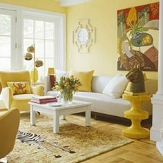In this refreshing lemonade-hued room, cheery yellow walls create a soothing canvas for fabrics and furnishings just a shade or two brighter