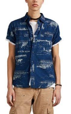 Mens Schott Camden Blue Hawai Regular Fit Shorts