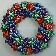 DIY, easy Christmas bow wreath for kids.