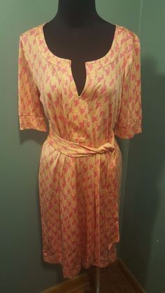 Lilly Pulitzer Pink Orange White Print Silk Short Sleeve Belted Tunic Dress 6 #LillyPulitzer #Tunic #WeartoWork #daystarfashions $44