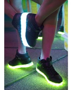 Steal da show in these Lite Up HiGh toP shoez #DollsKill #EDC #Lightup #shoes #sneakers #glow #rave #dance