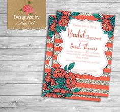 Bridal Shower party invitation, coral and silver glitter, bridal invite, engagement, floral, shabby and elegant party printable