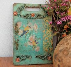Shabby Chic kitchen decor Recycled cutting board MOTHERS DAY GIFT kitchen sign bright green wooden sign altered board rustic Greek shop egst Shabby Chic Kitchen Decor, Bell Design, Shabby Home, Floral Garland, Kitchen Signs, Cold Porcelain, Handmade Decorations, Bright Green, Cottage Chic