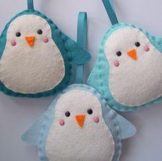 BULK BUY 12 handmade PENGUIN felt christmas decorations WHOLESALE. $57,00, via Etsy.