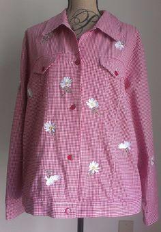Quacker Factory Cotton Blend Gingham Daisy Embroidered Long Sleeve Sz L Red  #QuackerFactory #ButtonDownShirt