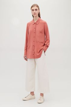 COS image 1 of Silk shirt with patch pocket  in Pink
