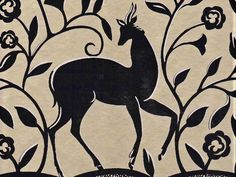 * Art Deco Style Deer & Scrolls Metallic Gold Black  Wallpaper Border B062 #SeabrookWallcoverings