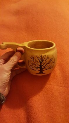 Kuksa with a tree of life... wood carving and burning experience. ..