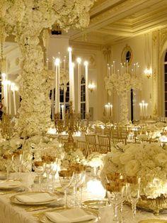 Super glam all-white reception by Preston Bailey. Trump and Melania Knauss Wedding. Reception Decorations, Event Decor, Wedding Centerpieces, Wedding Table, Table Centerpieces, Quinceanera Centerpieces, Party Wedding, Formal Wedding, Luxury Wedding