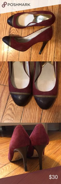 Michael Kors Burgundy Heels - size 6 Leather upper (suede) with zipper detail. Wooden 3.5 inch heel. Worn less than 5 times and in great condition. No visible defects. MICHAEL Michael Kors Shoes Heels