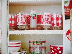 love this collection of red and white glassware from The Sunny Side of the Sun Porch: March 2010