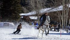 The Skijoring Competition at the Winter Carnival in Red River, NM. Photo by Gabriel Weinstein.