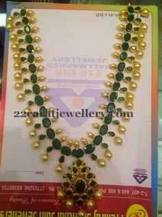 Jewellery Designs: Emerald Set with Pearls