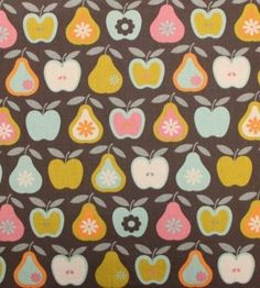 """""""Brown Apples and Pears"""" - Fat Quarter - Fabric"""