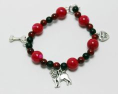 Love My Dog Red Bead Stretch Bracelet with Pug Dog by ThisPugLife, $10.00