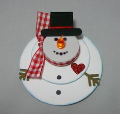 """Circular snowman with battery operated tea-light nose ("""",)"""