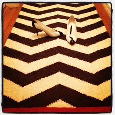 It's a black, white & red story with my mother's #vintage #chanel #heels on my #chevron rug