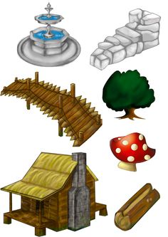 Elementos de cenário para o game produzido na SPJam 2014.