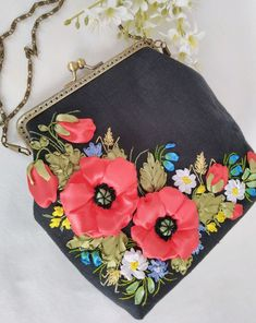 Embroidery Purse, Crewel Embroidery, Coin Purse, Purses, Wallet, Bias Tape, Handbags, Purse, Bags