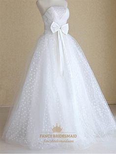 White Wedding Dress With Bow, Strapless Wedding Dress With Corset Back- Would want without the bow
