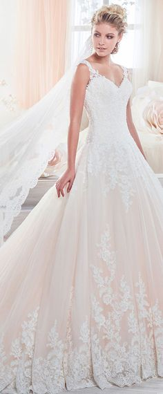 Alluring Tulle V-neck Neckline Cut-out A-Line Wedding Dresses With Lace Appliques & Beadings