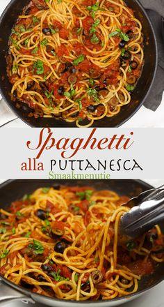 Spaghetti alla puttanesca #recept #recipe #spaghetti #pasta #italianfood