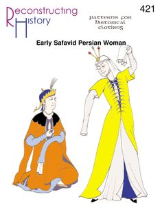 Use our pattern to make whatPersian Women really wore in the early part of the Safavidperiod (16thcentury)! Full-size paper patterns with complete instructions and historical notes for Lady's Safavid PersianOutfit including robes,drawers, andundershirt. Fits busts 30.5″-48″ and waists 23″-41″ with instructions for adjustments to smaller and larger sizes. All Sizes in one envelope. Embellishment suggestions …