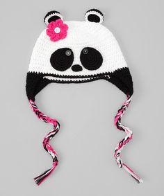Black & White Panda Earflap Beanie