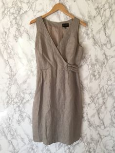 dove grey linen mini dress / wrap top dress with by minminvintage