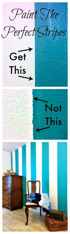 Add some bright colors to you home with these simple tricks for painting the perfect stripes! A great idea for a feature wall.  :-)