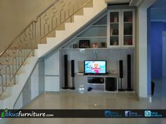 Bawah tangga di Condet unit design Under Stair Stairs Tiles Design, Staircase Design, Indian Home Design, Interior Design Under Stairs, Tv Wall Furniture, Under Staircase Ideas, Lcd Wall Design, Stairs In Living Room, Duplex House Design
