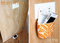 17. Keep your cell phone off the floor or counter while it's charging by carving an empty lotion bottle into a nifty cell phone holder. (If you attempt this make sure your holder is resting on the plug and not the metal prongs which could cause a fire.) - diy home sweet home: 50 Insanely Clever Organizing Ideas